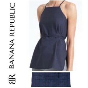 Banana Republic Plaid Apron Top Tie Waist Blue M